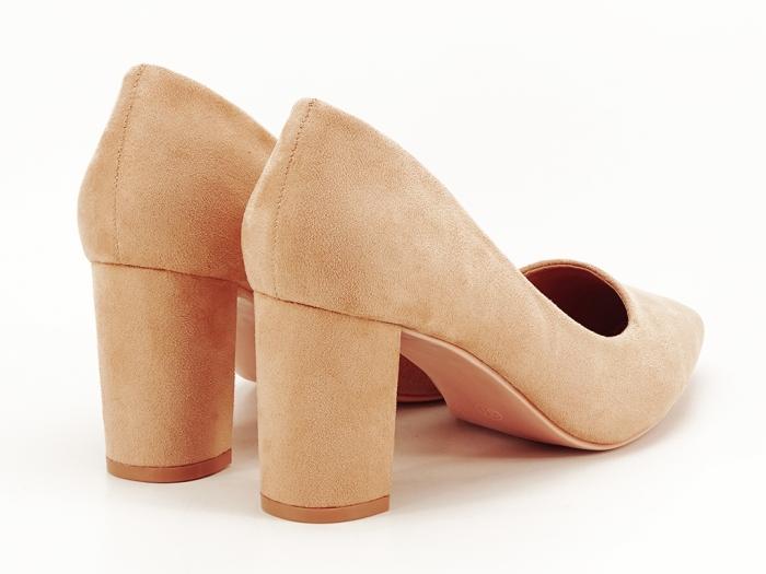 Pantofi nude cu toc gros Britney 7