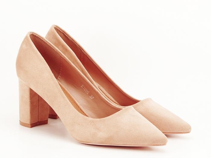 Pantofi nude cu toc gros Britney 2