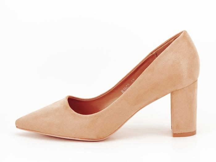 Pantofi nude cu toc gros Britney 0