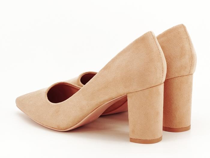 Pantofi nude cu toc gros Britney 6