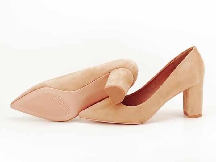 Pantofi nude cu toc gros Britney 3