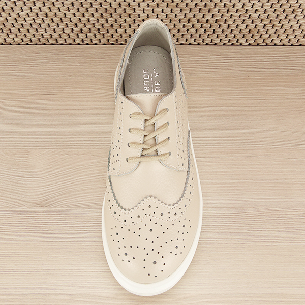 Pantofi oxford din piele naturala Laura bej [5]