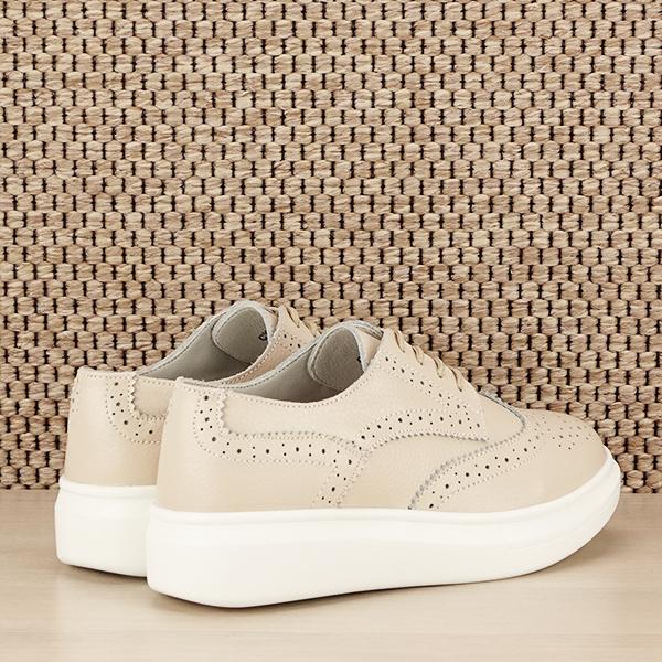 Pantofi oxford din piele naturala Laura bej [6]