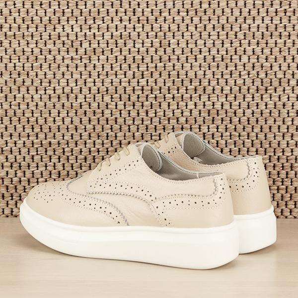 Pantofi oxford din piele naturala Laura bej [4]