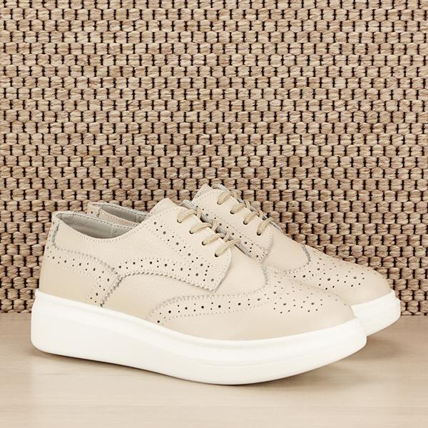 Pantofi oxford din piele naturala Laura bej [2]