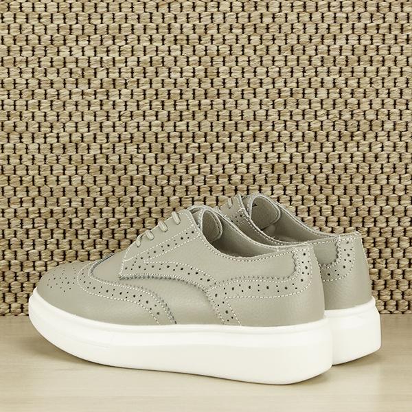Pantofi oxford din piele naturala Laura gri [4]