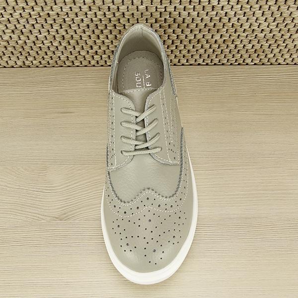 Pantofi oxford din piele naturala Laura gri [5]