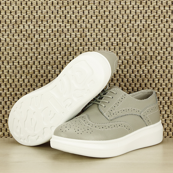 Pantofi oxford din piele naturala Laura gri [3]