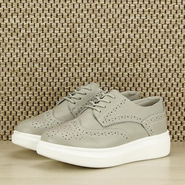 Pantofi oxford din piele naturala Laura gri [1]