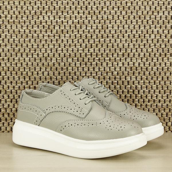 Pantofi oxford din piele naturala Laura gri [2]