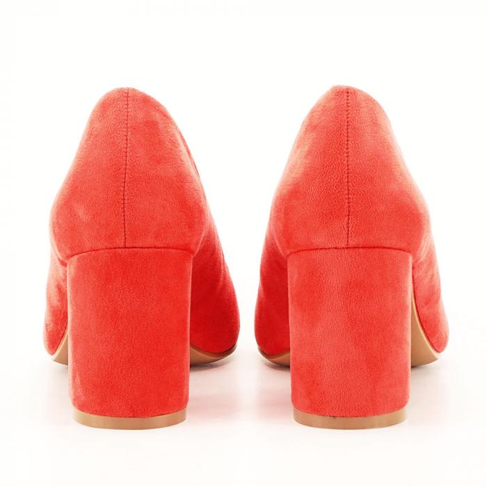 Pantofi roz cu toc gros Adelina 5