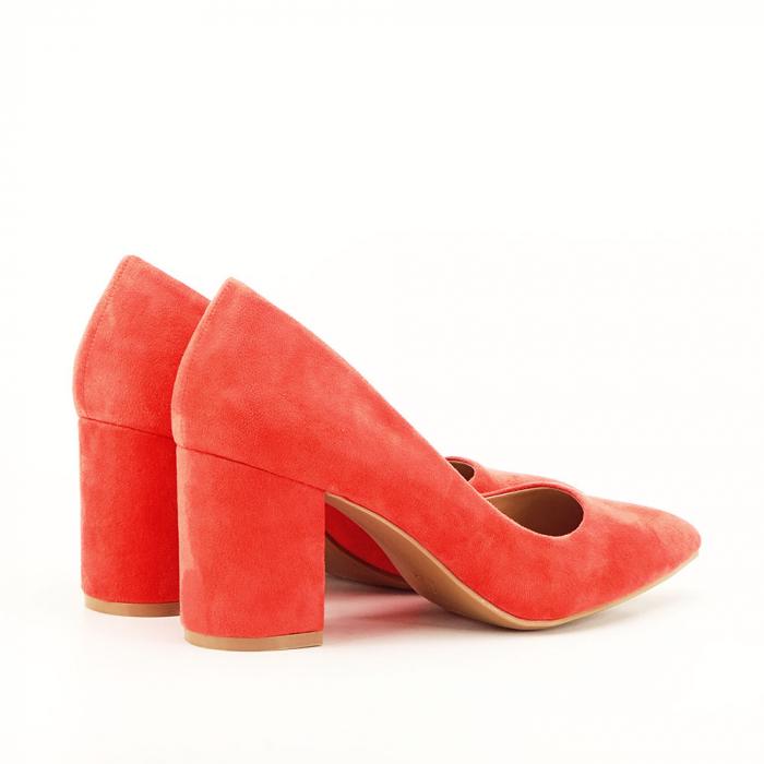Pantofi roz cu toc gros Adelina 3