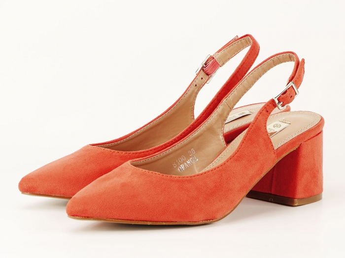 Pantofi portocalii decupati la spate Valeria 2 5