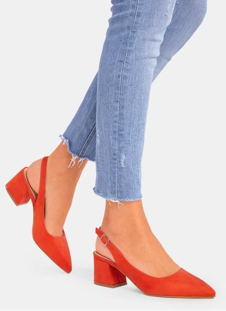Pantofi portocalii decupati la spate Valeria 2 7