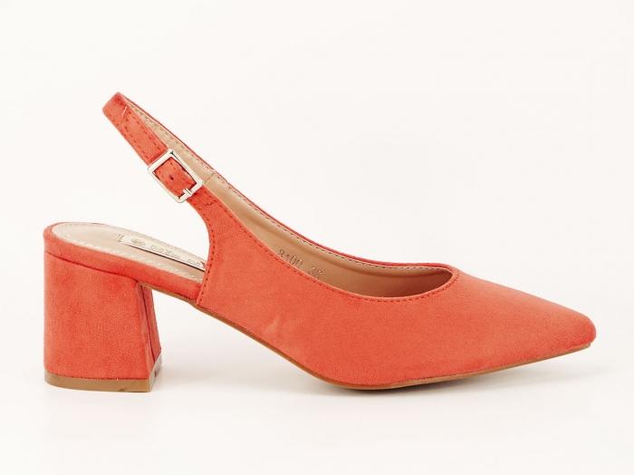 Pantofi portocalii decupati la spate Valeria 2 0