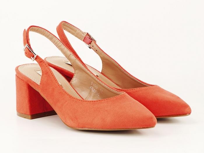Pantofi portocalii decupati la spate Valeria 2 1