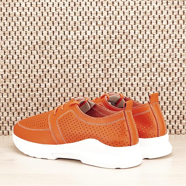 Pantofi piele naturala portocalii Angela [3]