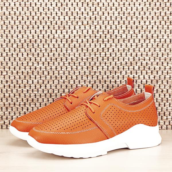 Pantofi piele naturala portocalii Angela [1]