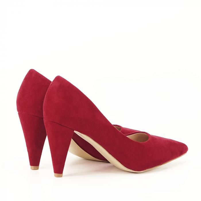 Pantofi rosii cu toc conic Dion 1