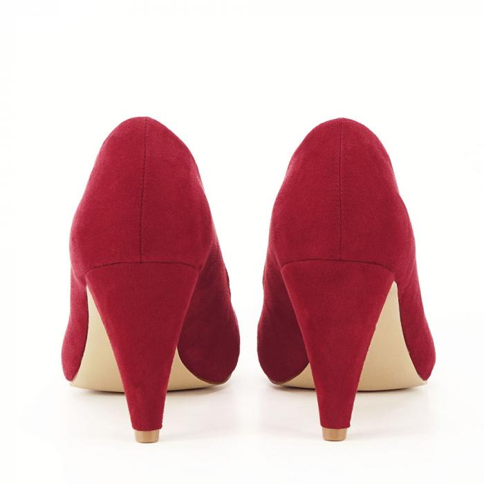 Pantofi rosii cu toc conic Dion 3
