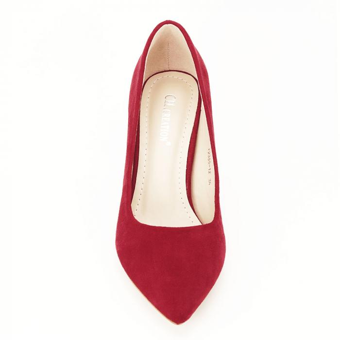 Pantofi rosii cu toc conic Dion 5