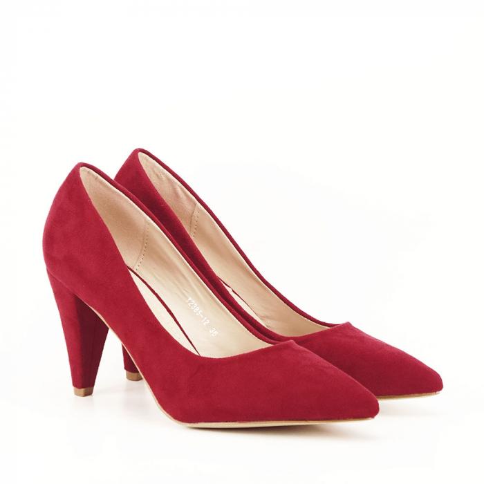 Pantofi rosii cu toc conic Dion 2