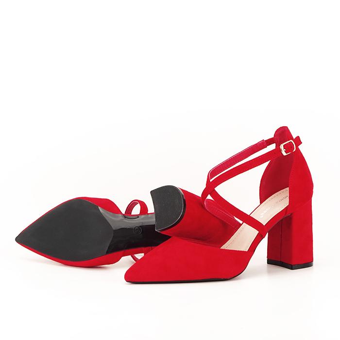 Pantofi rosii cu toc gros Amira [4]
