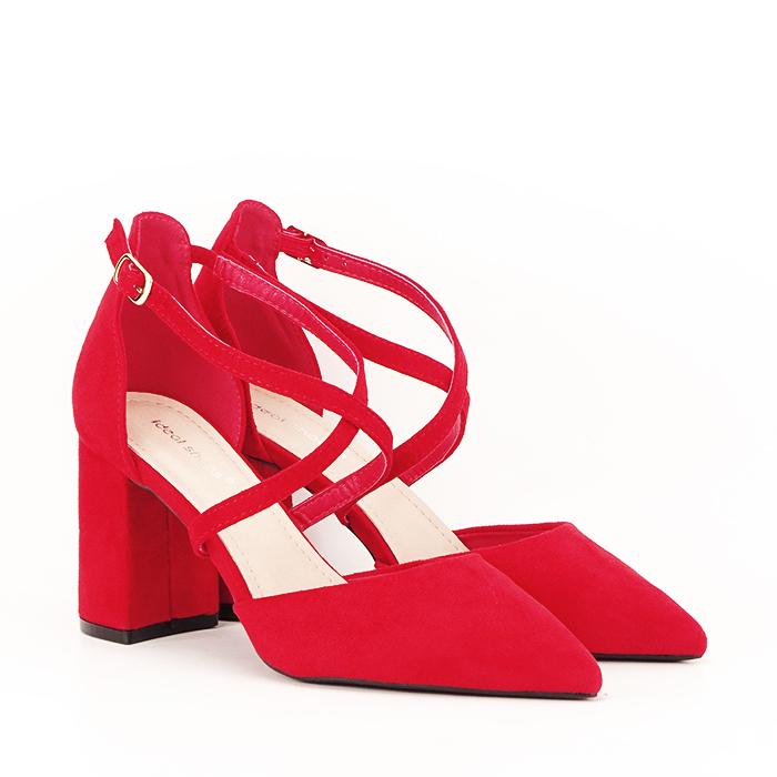 Pantofi rosii cu toc gros Amira [3]