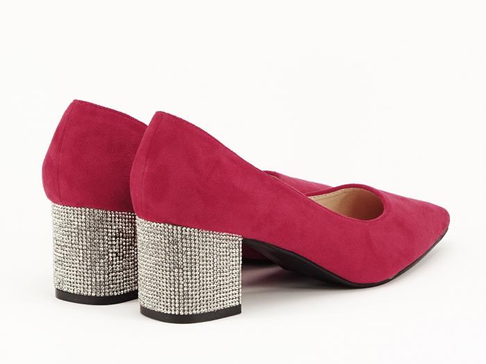 Pantofi rosii cu toc mic de 5,5 cm Ioana 2