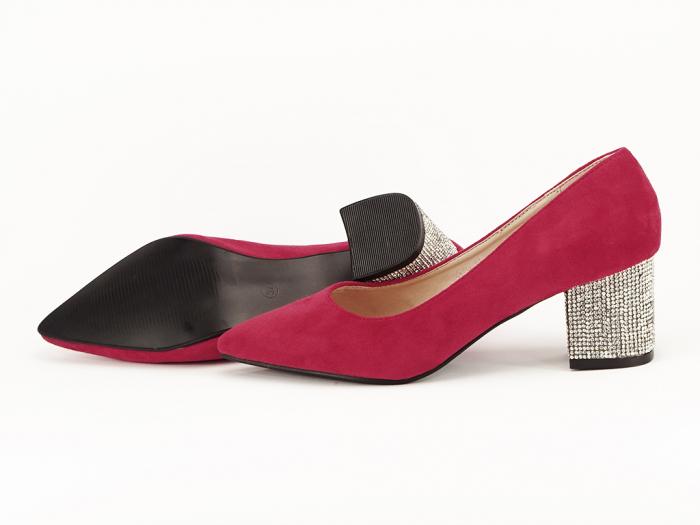 Pantofi rosii cu toc mic de 5,5 cm Ioana 5