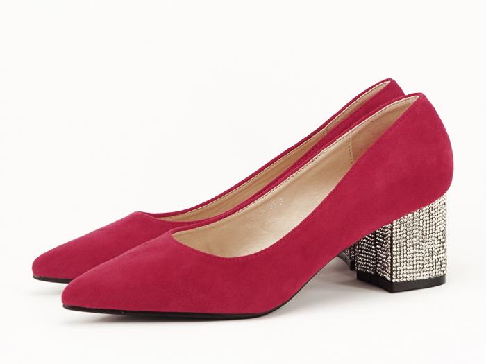 Pantofi rosii cu toc mic de 5,5 cm Ioana 1