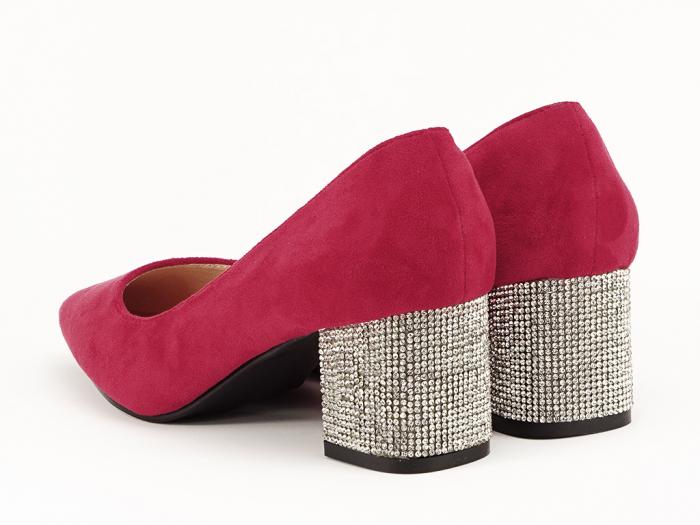 Pantofi rosii cu toc mic de 5,5 cm Ioana 3