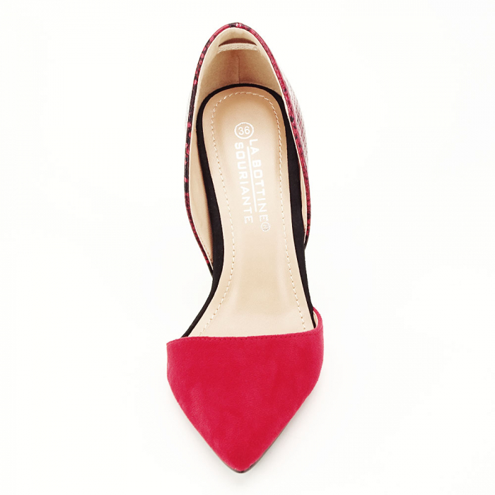 Pantofi rosii decupati cu imprimeu reptila 5