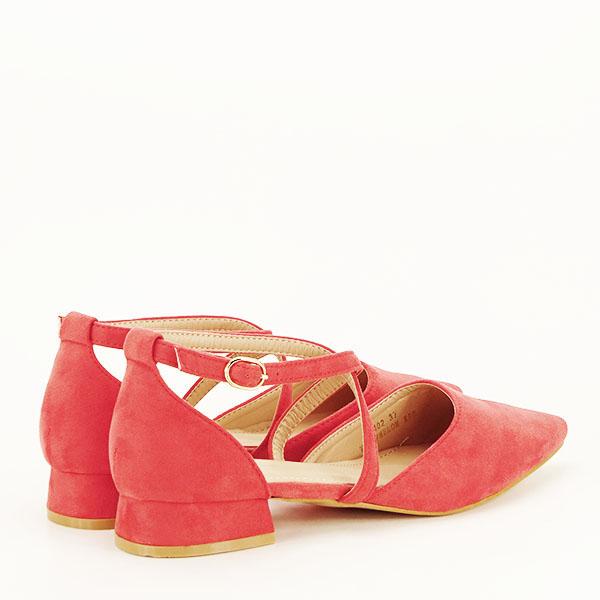 Pantofi rosu corai cu toc mic Carmen [4]