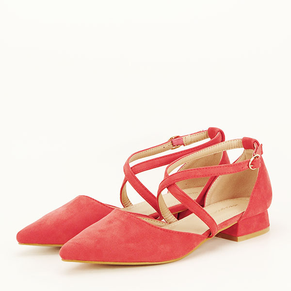 Pantofi rosu corai cu toc mic Carmen [0]