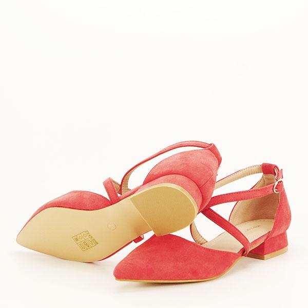 Pantofi rosu corai cu toc mic Carmen [6]