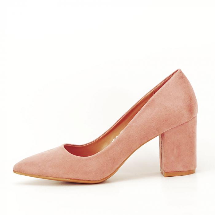 Pantofi roz cu toc gros Adelina 0