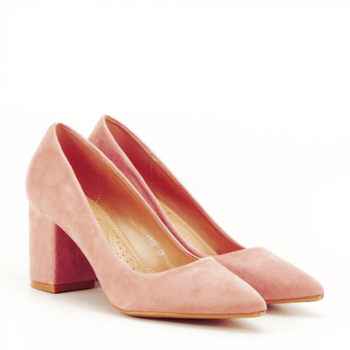 Pantofi roz cu toc gros Adelina 4