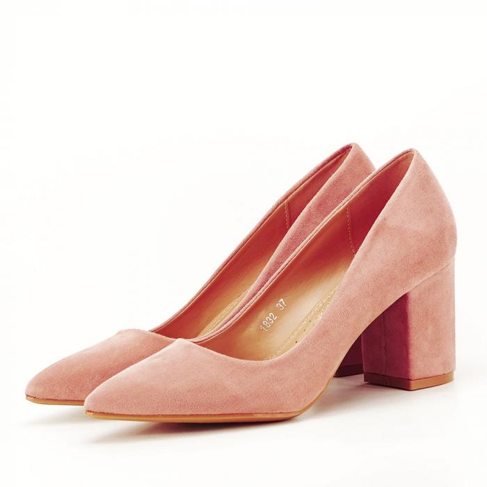 Pantofi roz cu toc gros Adelina 1