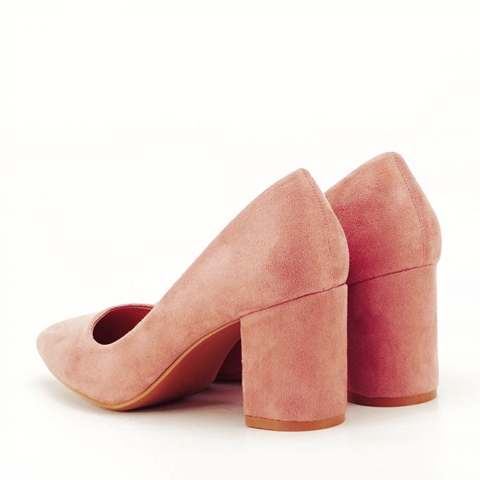 Pantofi roz cu toc gros Adelina 2