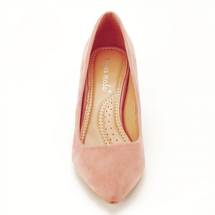 Pantofi roz cu toc gros Adelina 6