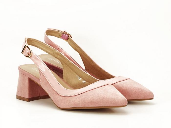 Pantofi roz decupati la spate Doris 1