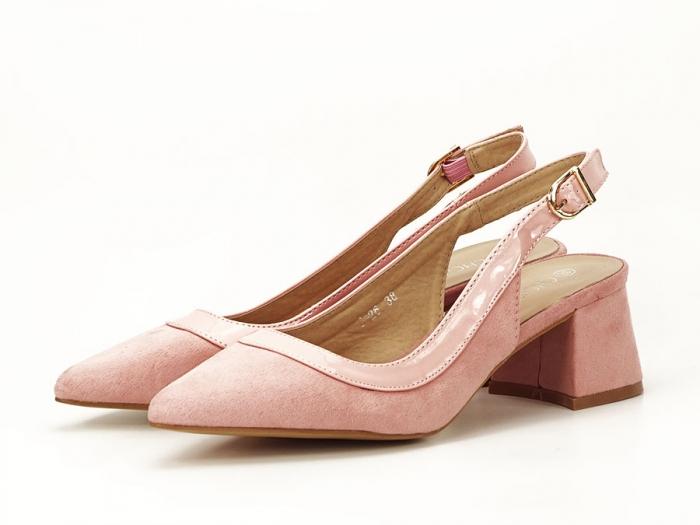 Pantofi roz decupati la spate Doris 5
