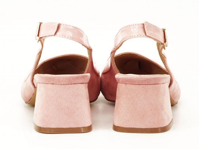 Pantofi roz decupati la spate Doris 4