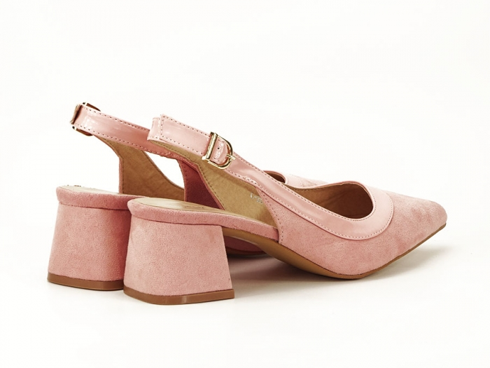 Pantofi roz decupati la spate Doris 6