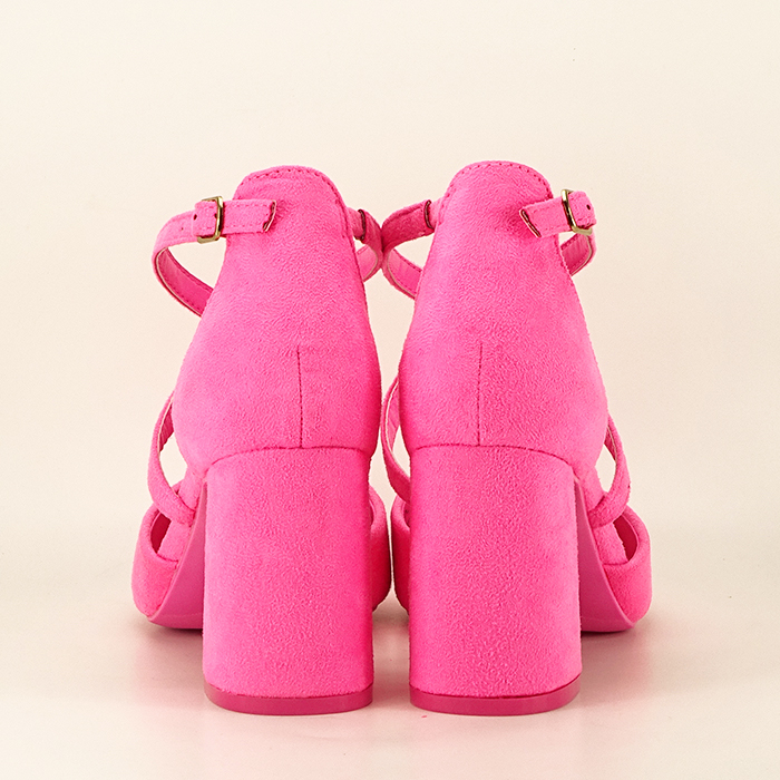 Pantofi roz neon cu toc gros Amira 4