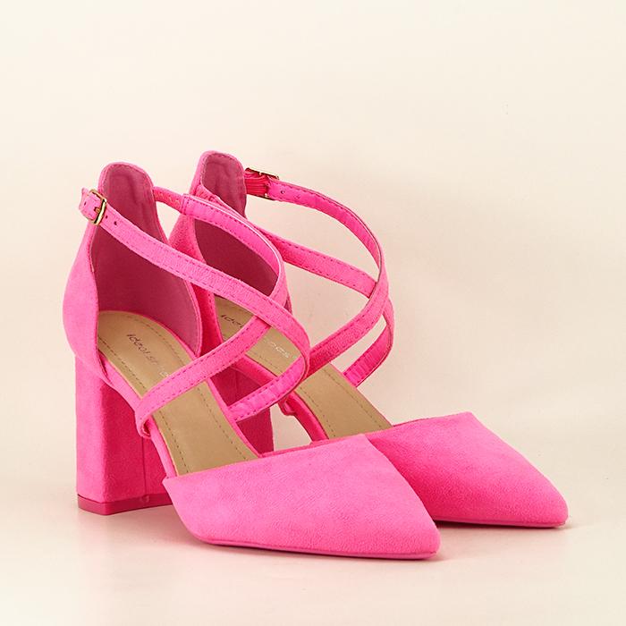 Pantofi roz neon cu toc gros Amira 1
