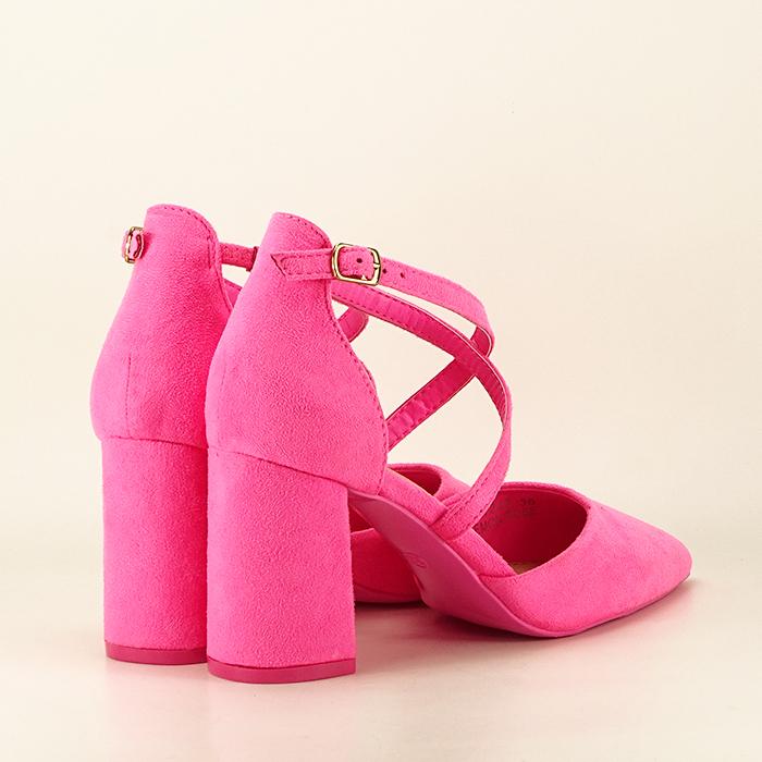 Pantofi roz neon cu toc gros Amira 5