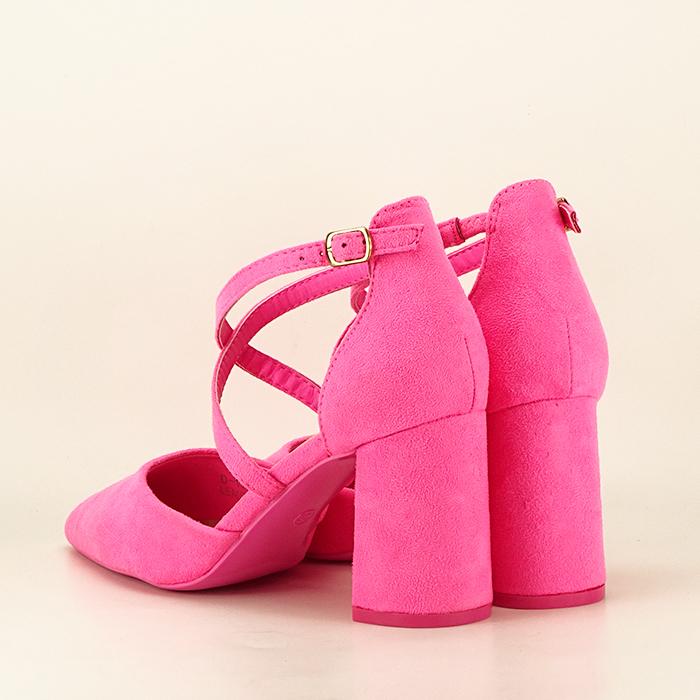 Pantofi roz neon cu toc gros Amira 3