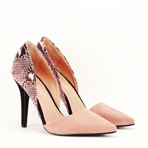 Pantofi roz pudra decupati lateral Lori [3]